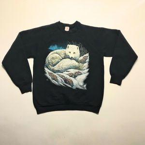 Vintage 1990 Graphic Wolf Pack Sweatshirt USA Lg